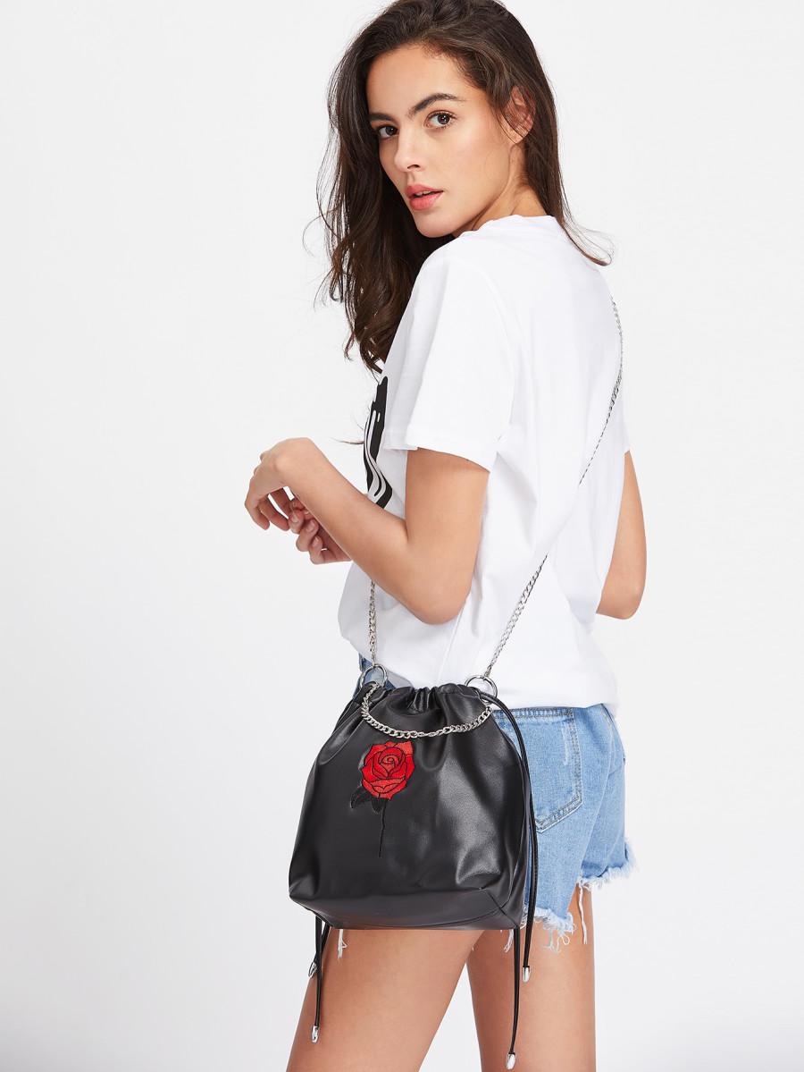 bolsos-maletas Bolso Con Bordado De Rosa Y Cord  n para mujer
