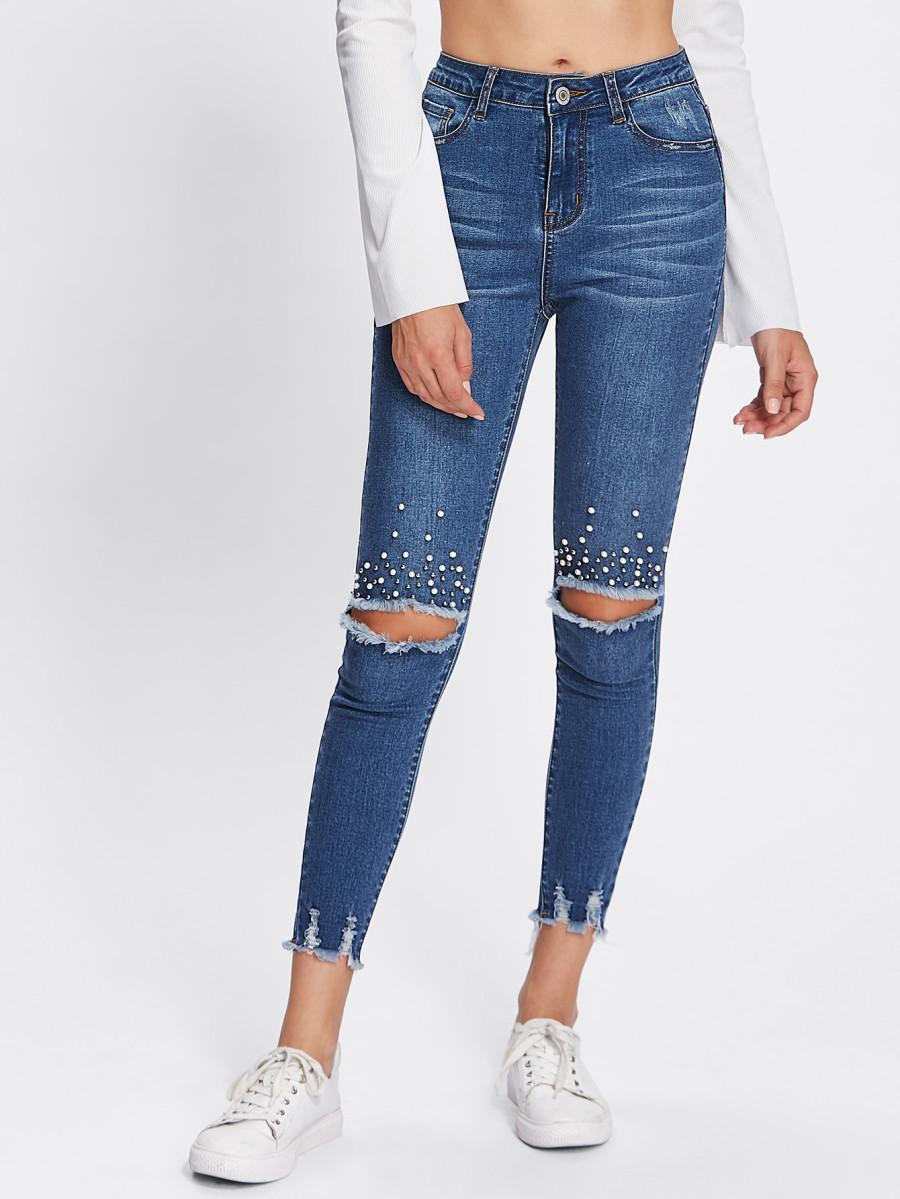 nueva selección alta moda vanguardia de los tiempos Jeans rotos en las rodillas