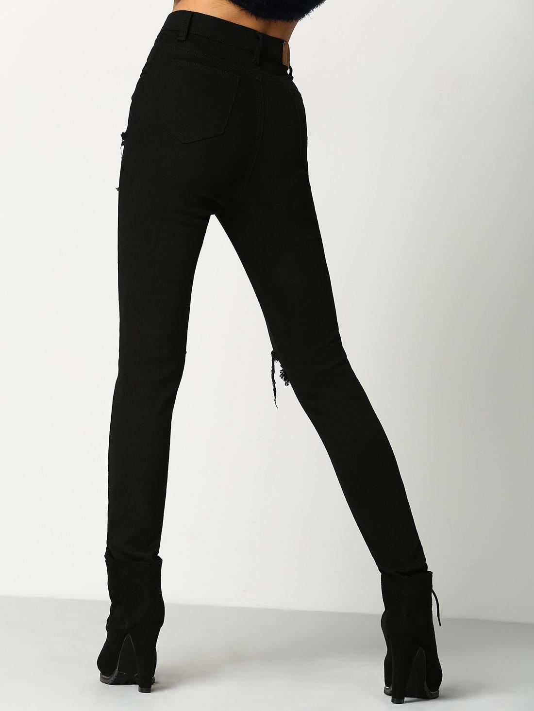 Pantalón Negro Roto - Seven Store