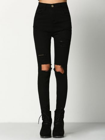 No Sidebar pantalon negro roto 350x466