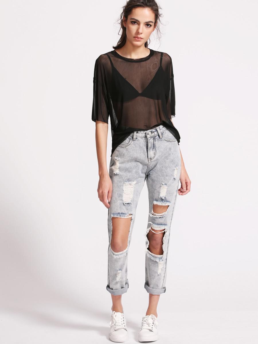 Página web oficial colores delicados tienda oficial Blusa de Malla Transparente - Negra