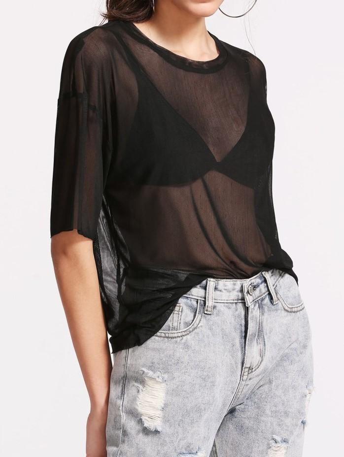 56f640eb3 Blusa de Malla Transparente – Negra – Seven Store – Tienda de Ropa ...