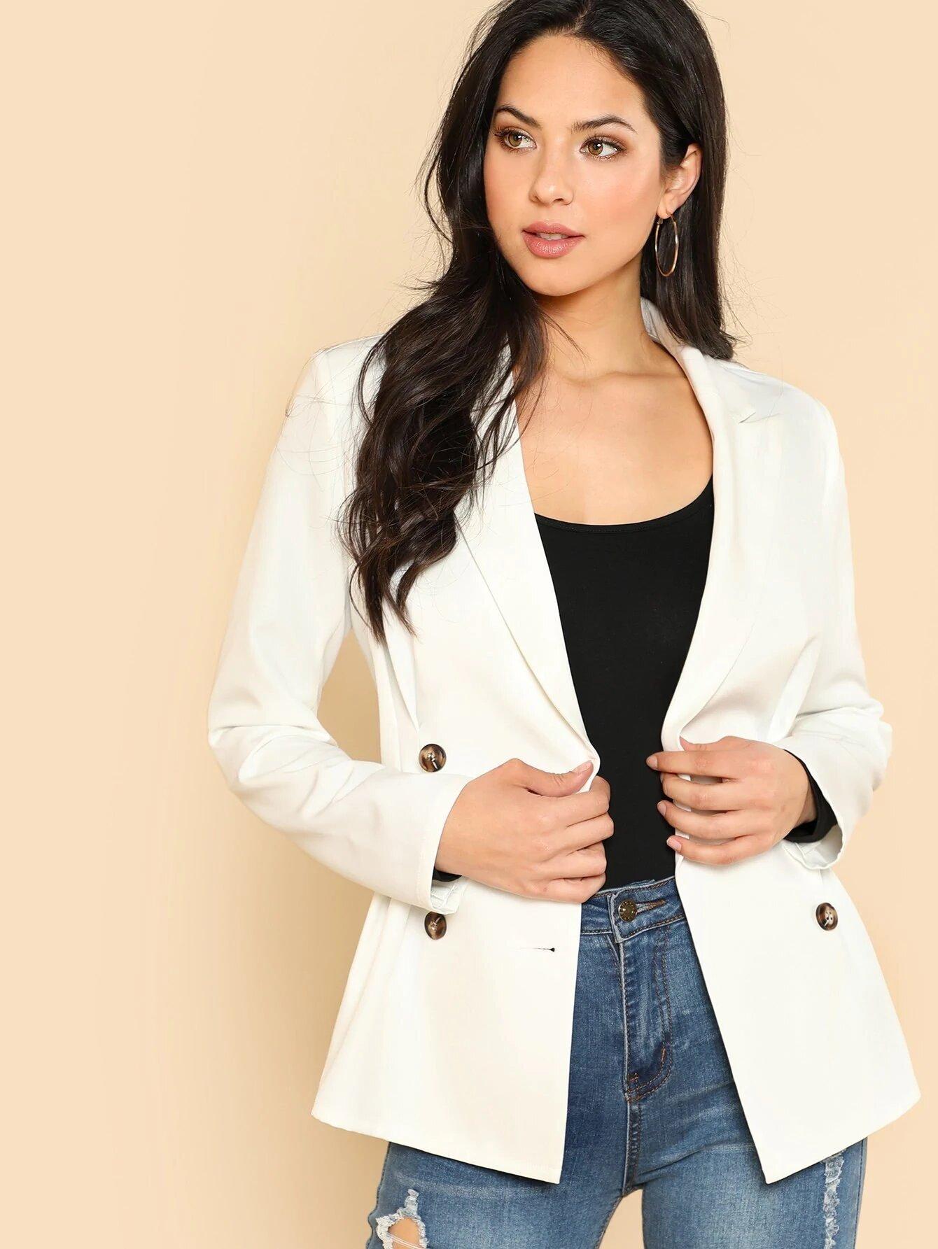 51e6fd252f Blazer blanco en doble botón – Seven Store – Tienda de Ropa para Mujer