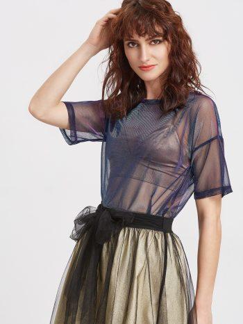 Blusas/Jerséis/Vestidos Blusa azul marino de malla transparente 2 350x466