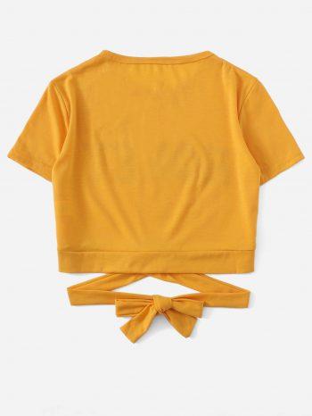 No Sidebar Camiseta con detalle de corbata 2 350x466