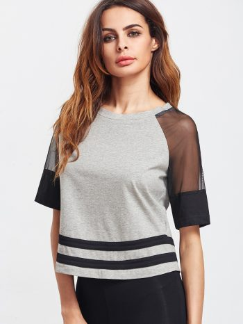Rebajas Camiseta con dobladillo a rayas gris 2 350x466