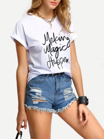 No Sidebar Camiseta con estampado de letras 350x466