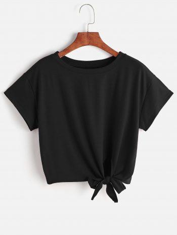 No Sidebar Camiseta negra con lazo 350x466