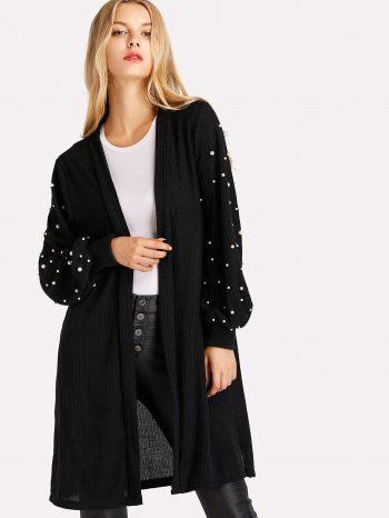 No Sidebar Cardigan negro con perlas 3 350x466