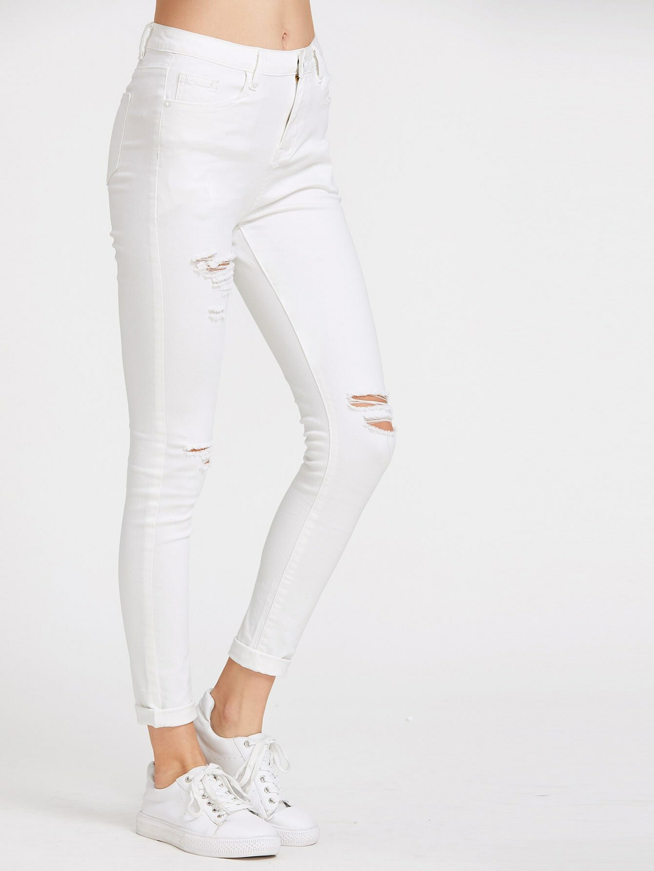 Pantalón blanco vaqueros rasgado de bolsillo