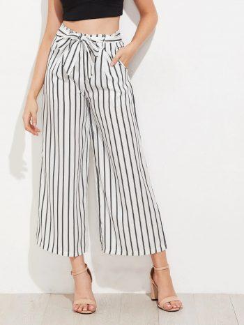 No Sidebar Pantalones de pierna ancha a rayas verticales 1 350x466