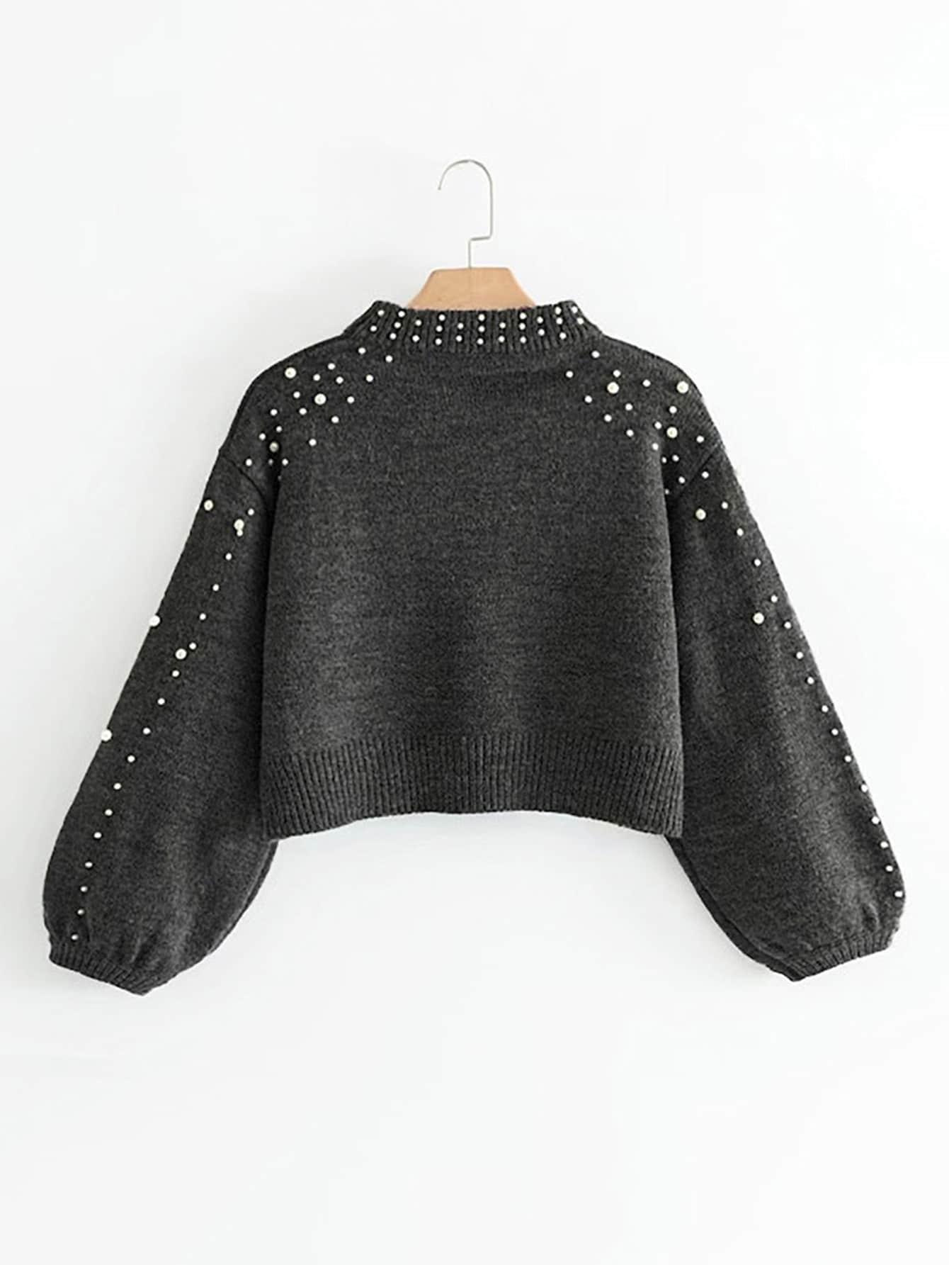 Suéter Gris de manga perla – Seven Store – Tienda de Ropa para Mujer 7c973af735a5