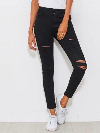 No Sidebar Jeans ajustados desgastados 350x466