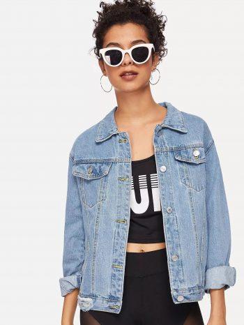 No Sidebar Chaqueta de jean con desgaste 1 350x466