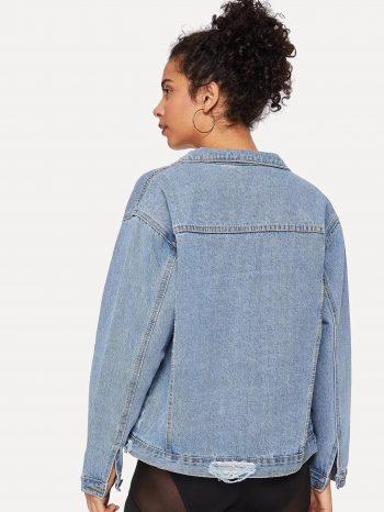 No Sidebar Chaqueta de jean con desgaste 2 1 350x466