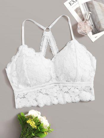 Blusas/Jerséis/Vestidos Bralette de encaje floral con ribete festoneado 350x466