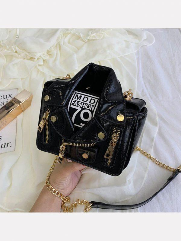 Bolso en forma de chaqueta motociclista negra Bolso en forma de chaqueta motociclista 004 600x799