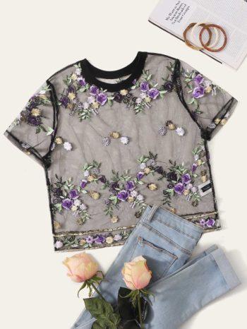 Blusas/Jerséis/Vestidos Blusa corta con Bordado de Flor oscura 350x466