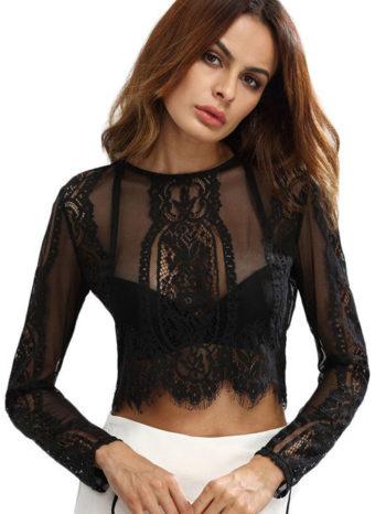 Blusas/Jerséis/Vestidos Blusa corta con encaje 1 350x466