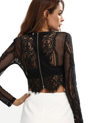 Blusas/Jerséis/Vestidos Blusa corta con encaje 2 350x466