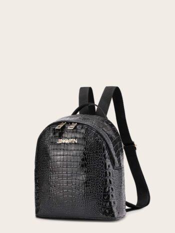bolsos-maletas Mochila curvada en relieve de cocodrilo 350x466