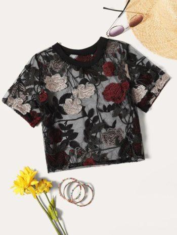 No Sidebar Blusa Fina Con Bordado Floral 350x466