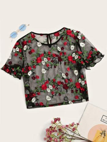 No Sidebar Blusa bordado floral Cuff Crop 350x467