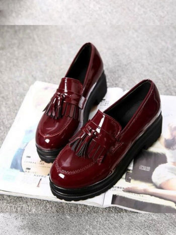 No Sidebar Zapatos informales de plataforma vino tinto 2 350x467